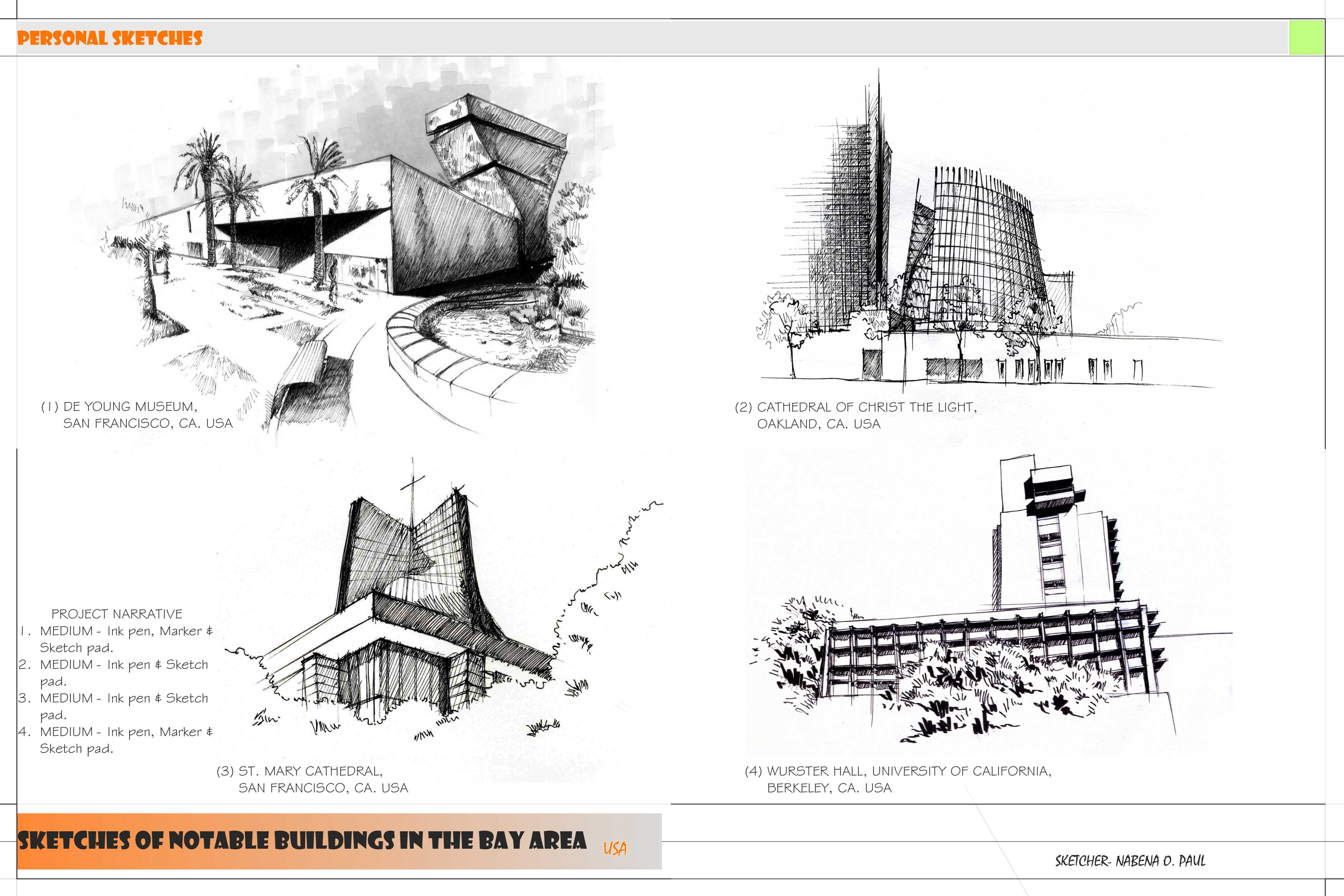 Sketches Of Notable Architectural Buildings SF Bay Area