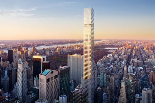 At 425.5 m / 1,396 ft, the Rafael Viñoly-designed and recently completed 432 Park Avenue tower is the tallest all-residential building and the 100th supertall skyscraper in the world. (Rendering: DBOX)