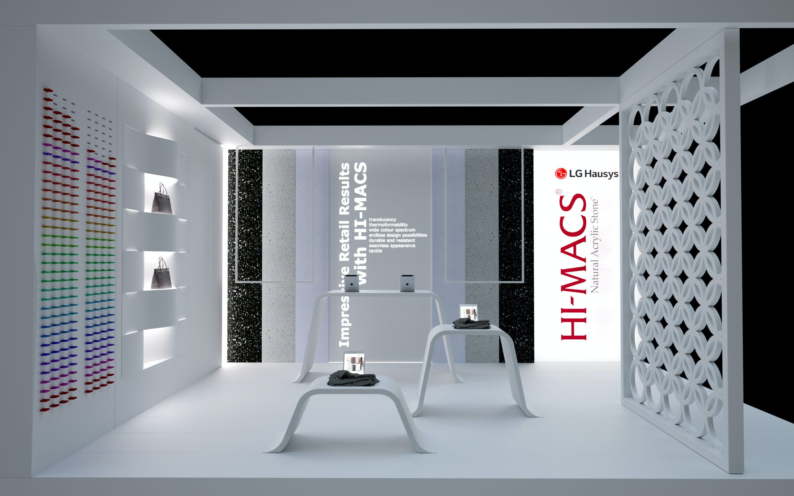 lg hausys presents hi macs limitless design possibilities at retail design expo lg hausys. Black Bedroom Furniture Sets. Home Design Ideas