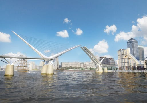 "reForm Architects have registered their design for a new Thames-spanning pedestrian and cycle bridge between Rotherhithe and Canary Wharf, ""a place desperately short of cross-river connections"" according to Wainwright. Credit: Reform Architects/Elliott Wood"