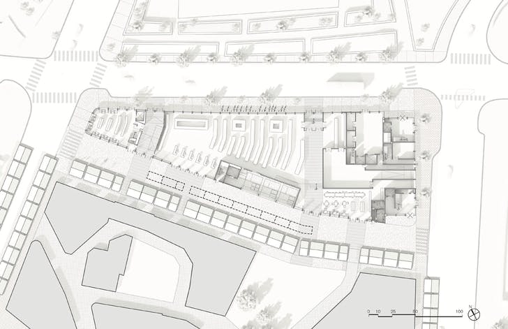 Ground level plan. A competition proposal for Parcel 9 on the Greenway in Boston's Market District. Image via Elizabeth Christoforetti.