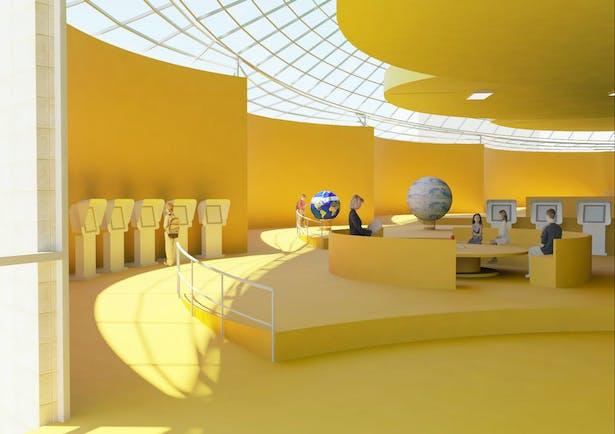 Louisville Children's Museum proposal's typical ADA ramp and exhibition platform.