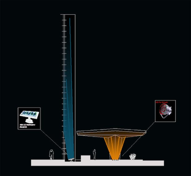 Section of schematic lighting design