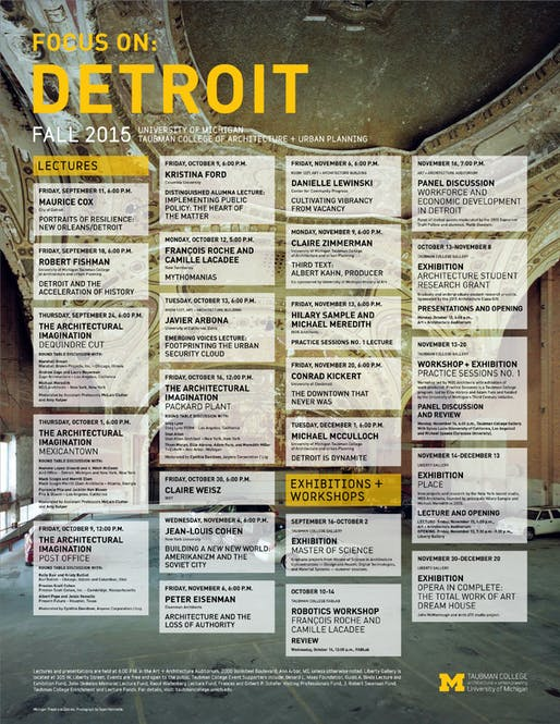 Poster background: Michigan Theatre in Detroit. Photo: Sean Hammerle. Poster courtesy of Taubman College of Architecture and Urban Planning.
