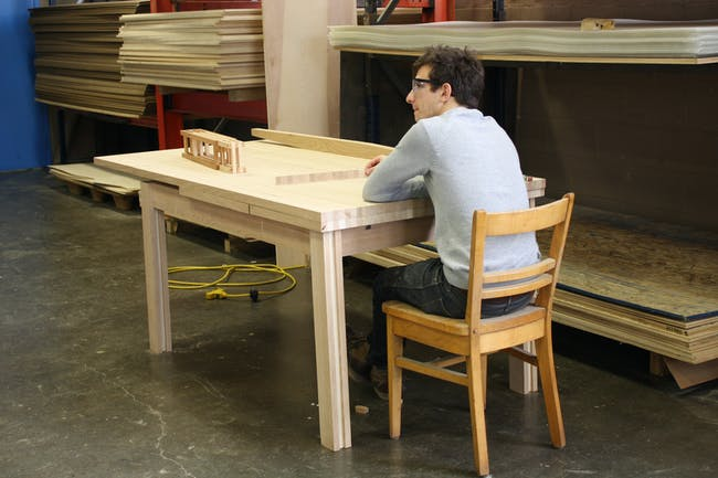 Dining Table Designed by Alyssa Phelps (pictured seated Joey Swerdlin)