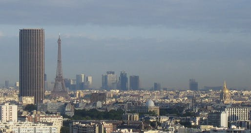 Beauty and the beast: the Eiffel Tower and the city's-most-hated-building-but-soon-to-be-très-chic Tour Montparnasse. (Photo via Wikimedia Commons)