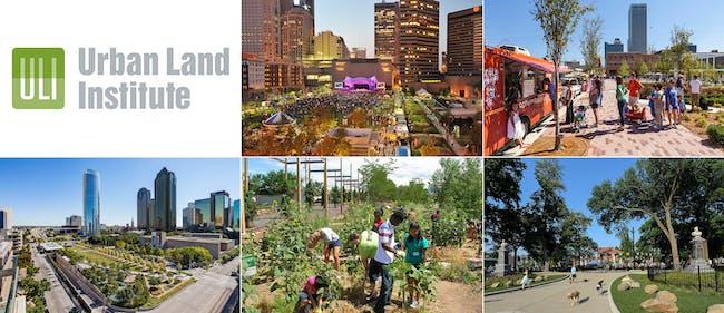 Urban Open Space Award 2014 finalists (clockwise from top): Columbus Commons and Scioto Mile (Columbus, Ohio); Guthrie Green (Tulsa, Oklahoma); Washington Park (Cincinnati, Ohio); The Railyard Park and Plaza (Santa Fe, New Mexico); Klyde Warren Park (Dallas, Texas)