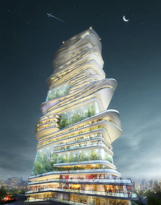 "SURE Architecture's winning ""Endless City"" skyscraper proposal for the streets of London. Image courtesy of SURE Architecture"