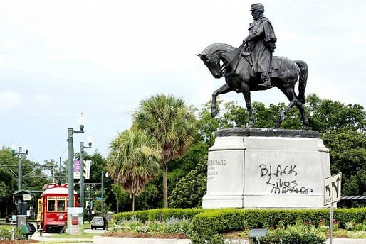 "A statue of Confederate General P.G.T. Beauregard in New Orleans with ""Black Lives Matter"" spray-painted on its plinth. Photo: New Orleans Advocate/ELIOT KAMENITZ, via theartnewspaper.com"