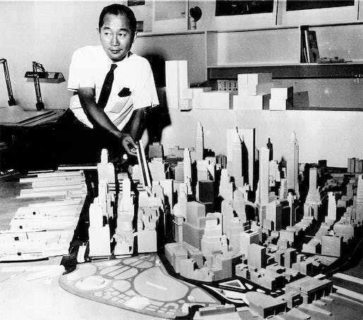 Minoru Yamasaki during the planning phase of the World Trade Center twin towers he designed. Image: Archives of Michigan.