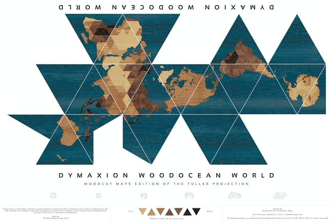 Dymaxion Woodocean World, Nicole Santucci + Woodcut Maps, United States