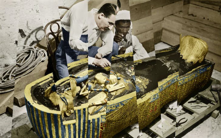 Howard Carter uncovering King Tutankhamen's tomb