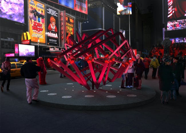Young Projects - 'Match Maker'. Winner of the 2014 Times Square Heart Design. Image courtesy