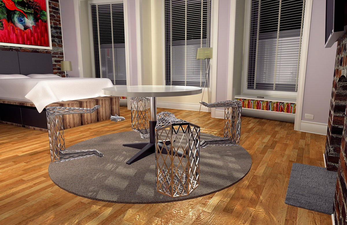 Render Of Furniture Design Set In A Small Apartment That Served As Initial  Context For The