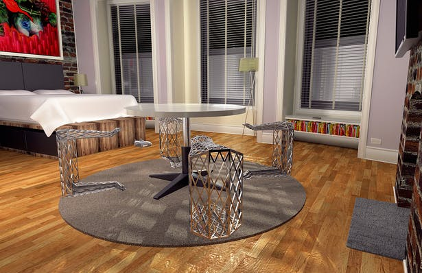 Render of furniture design set in a small apartment that served as initial context for the project. 3DS Max and Photoshop.