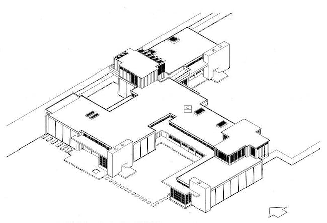 Isometric drawing of the Schindler House, Los Angeles, CA. Library of Congress, Prints & Photographs Division, CA-1939
