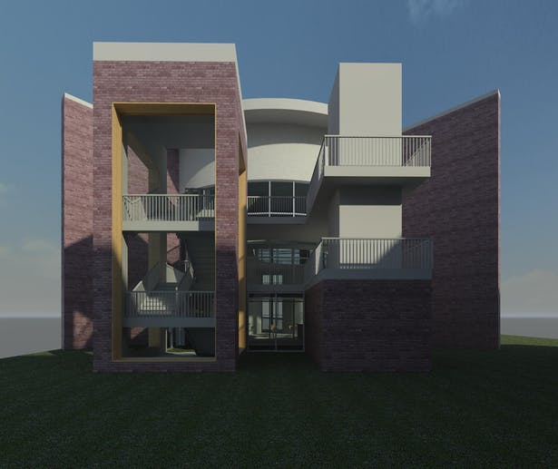 Library Main Entrance - Initial Render