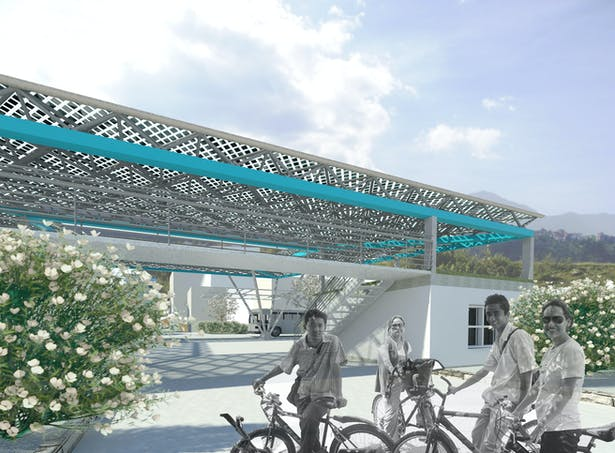 Central community space/farmers market with sustainable photovoltaics space truss and bus stop
