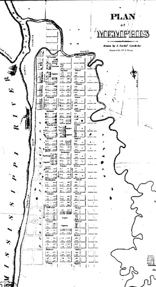 1819 Plan of Memphis showing the Gayoso Bayou