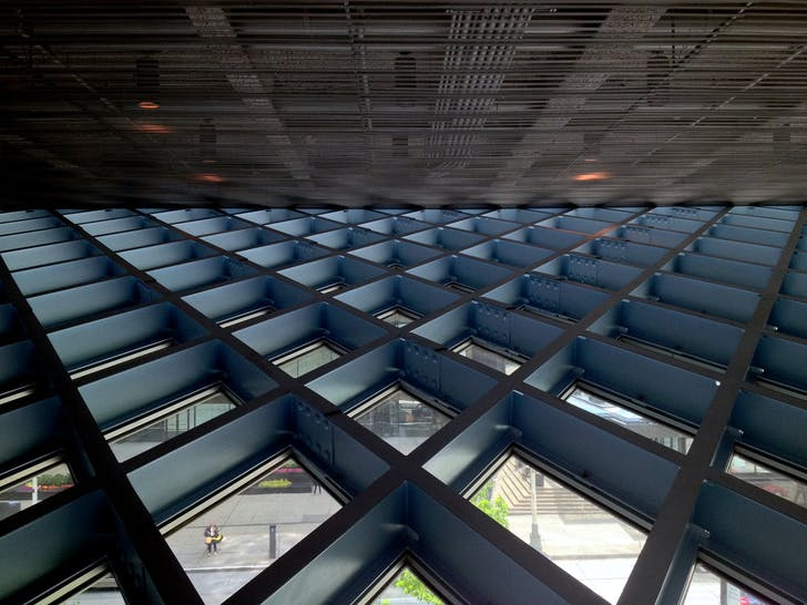 Exterior Wall/Ceiling Intersect, Seattle Central Library. Image: Joe Wolf via Flickr