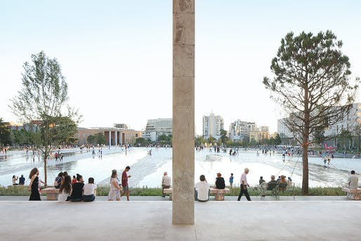 Finalist: Skanderbeg Square in Tirana, Albania, designed by 51N4E, Anri Sala, Plant en Houtgoed, and iRI. Photo by Filip Dujardin.