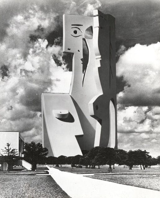 "Photomontage of Picasso's ""The Bust of a Woman"" at the USF campus, by Carl Nesjar in 1971. Image: USF Special Collections Library."