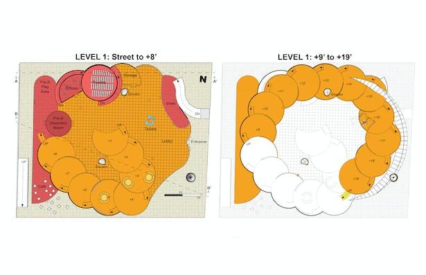 Louisville Children's Museum proposal Floor Plans for Level 1.