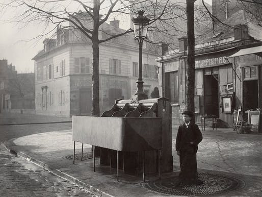 This photograph from 1865 shows a public pissoir in Paris. These are the forerunners of other public restrooms, but their use was exclusively for men urinating. Credit: Wikipedia