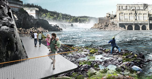 Mayer/Reed + Snøhetta + DIALOG's winning concept for a new riverwalk at Willamette Falls in Oregon. Rendering: Snøhetta