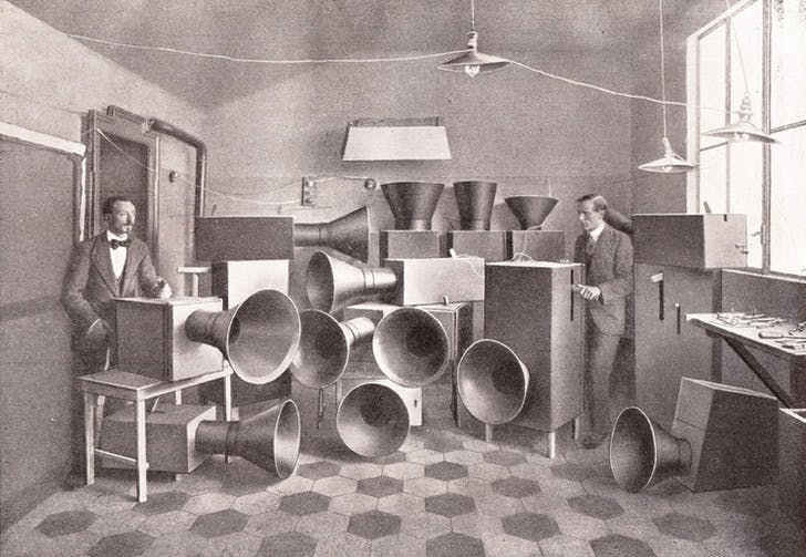 Maybe consider removing a few of those horns. Luigi Russolo and Ugo Piatti with noise machines, Milan, 1913. Image via designobserver.com