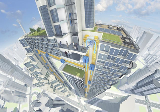 'ThyssenKrupp's MULTI consists of various cabs per shaft and enables vertical and horizontal movement.' Image © 2015 ThyssenKrupp Elevator AG.