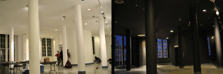 In an act of protest, students painted the 3rd floor architecture lobby (designed by former dean John Hejduk) black. Image via Apollo@Didyma on Archinect.