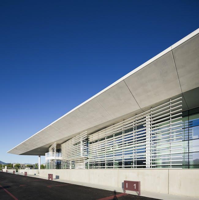 Italcementi i.lab north facade with prefabricated concrete screen - Copyright Scott Frances - OTTO