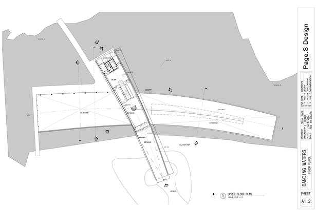Upper Plan showing cafe and lounge area with view of lower Manhattan.