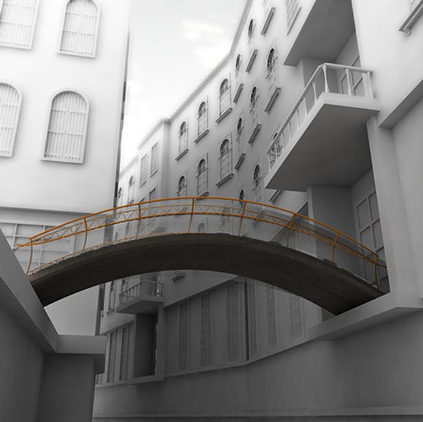 View of pedestrian bridge from canal