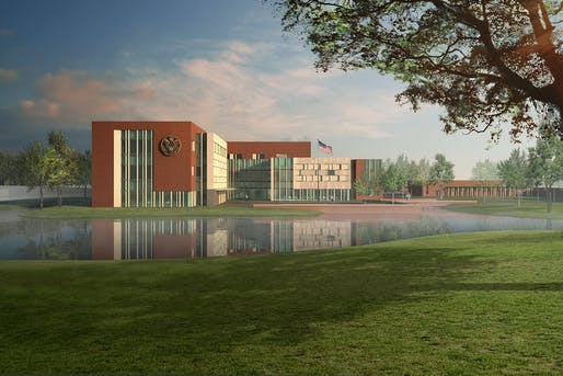 South elevation of the new U.S. Embassy in The Hague, Netherlands. Image courtesy of the Department of State OBO