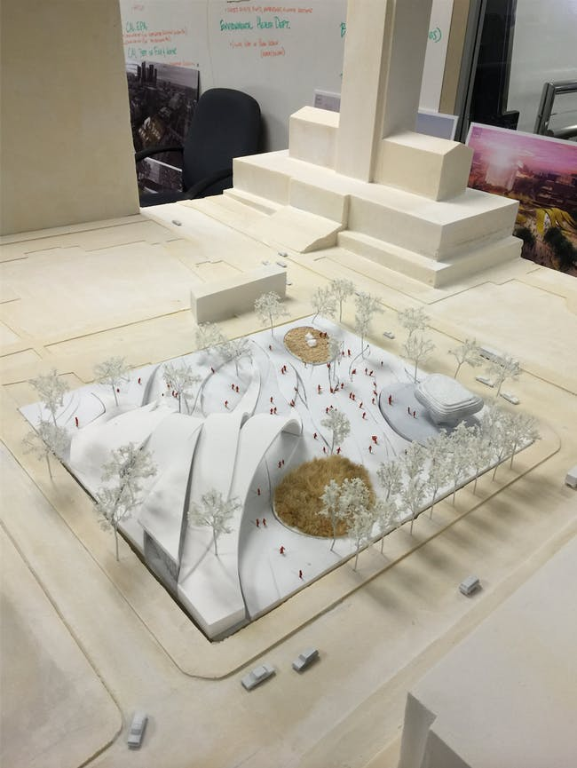 A model of the park proposal by Brooks + Scarpa Architects. Credit: Brooks + Scarpa Architects via City of Los Angeles