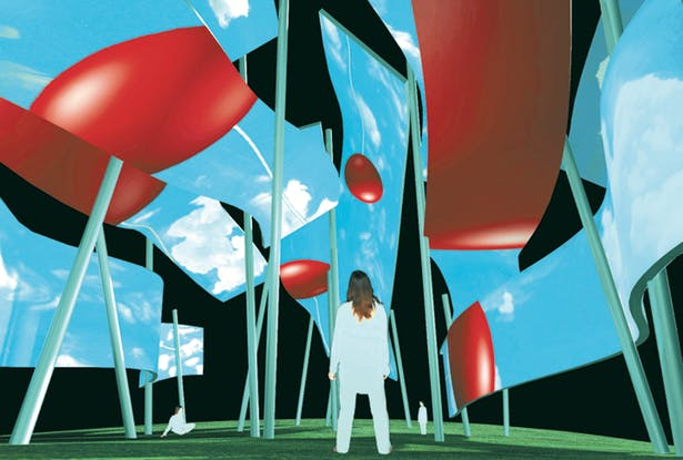 A visitor releases a ballon into the Air Pavilion where it is multiplied and enlarged.