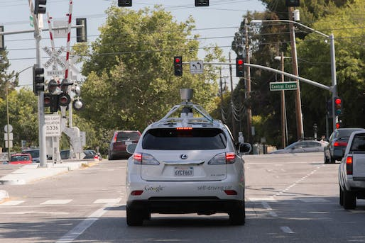 One of Google's autonomous Lexus RX450h test SUVs cruising the streets of Silicon Valley. The software now caused its first (minor) accident. (Image: Google)