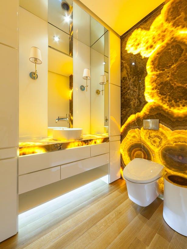 Powder Room - Backlit Onyx Features