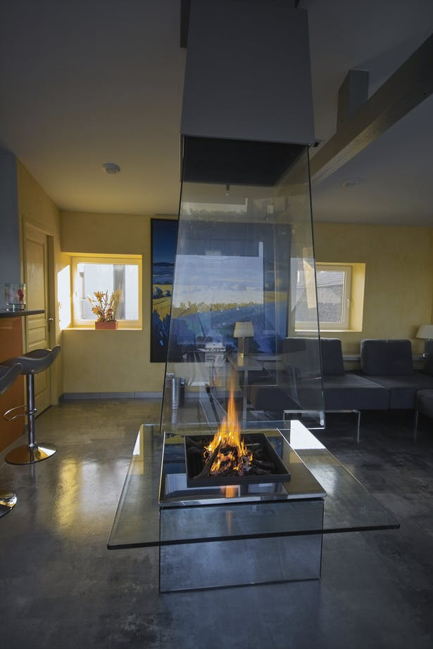Bloch Design suspended glass fireplace 5