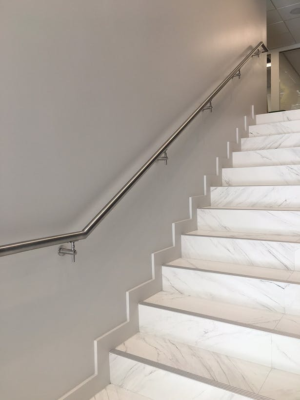 Commercial glass railing stainless steel elements - Florida building code interior walls ...