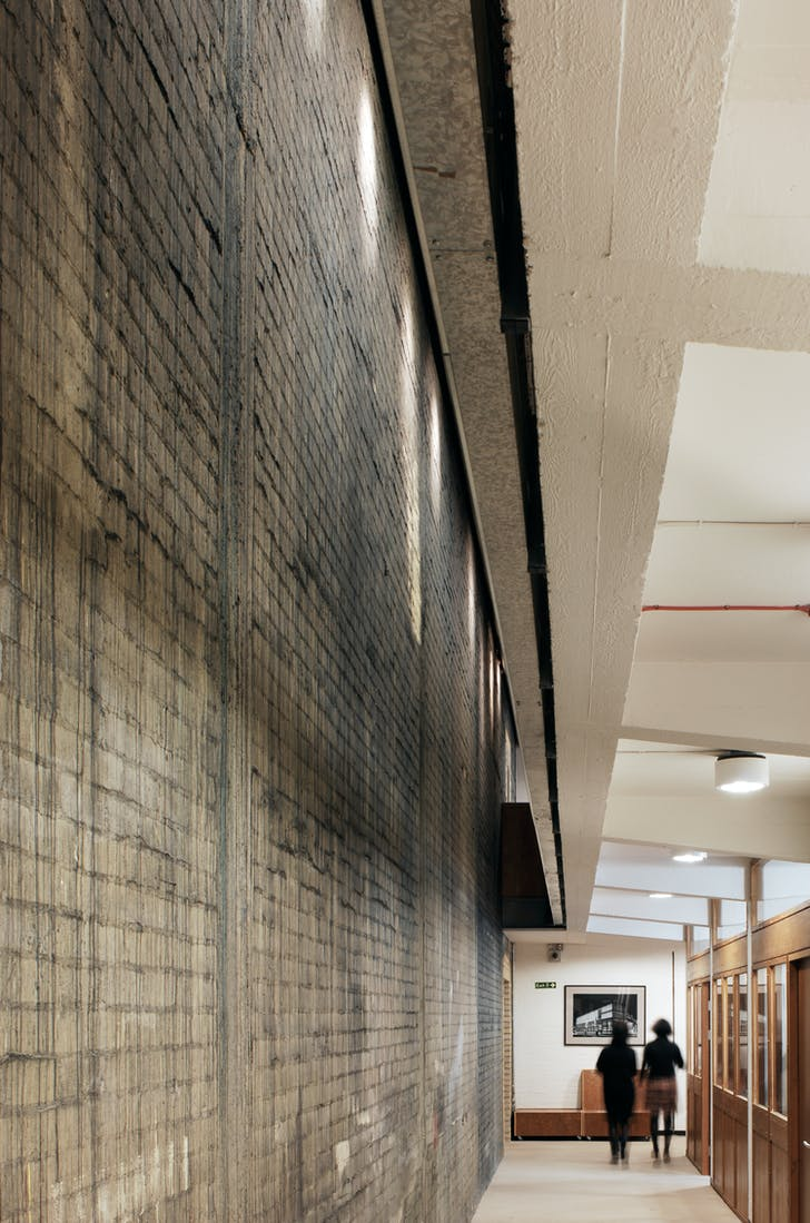 National Theatre Studio original scenic painting wall retained in the refurbished building by Haworth Tompkins for which Katy Marks was project Architect. Photo by Philip Vile.