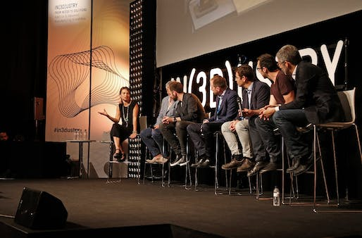 "Architecture & Habitat Panel at IN(3D)USTRY ""From Needs to Solutions"" 2016, with Areti Markopoulou, director of the Institute for Advanced Architecture of Catalonia, Nils Fischer, Senior Associate at Zaha Hadid Architects, Robert Stuart-Smith, Ferran Figuerola, Ceo at Cricursa, Jose Daniel García, Technology Transfer Director at Acciona, Enrico Dini, Founder at D-Shape and Dave Pigram, Director at Supermanoeuvre"