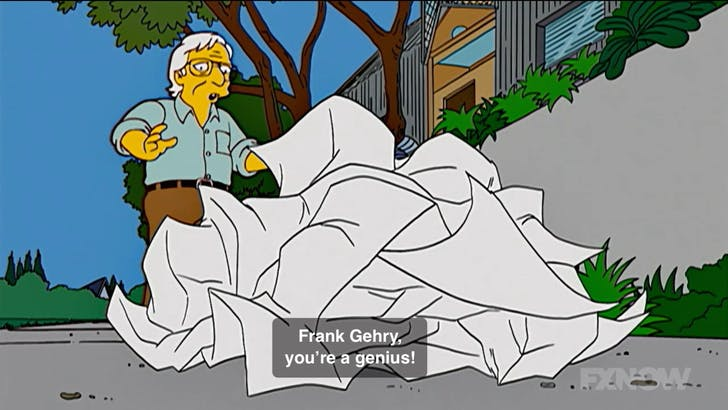 Screenshot of Frank Gehry on 'The Simpsons'.