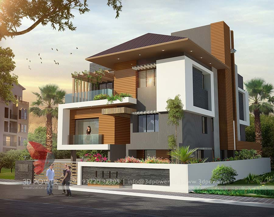 3d Modern Bungalow Exterior Day Amp Night Rendering