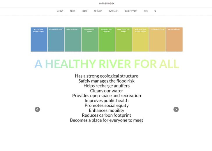 The website for the Gehry Partners-led LA River revitalization project.