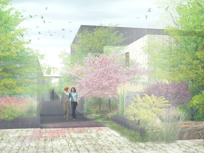 1st prize winner of the FAITH! ideas competition: CAMLEY STREET SYLVAN CHAPEL. Image courtesy of Combo Competitions.