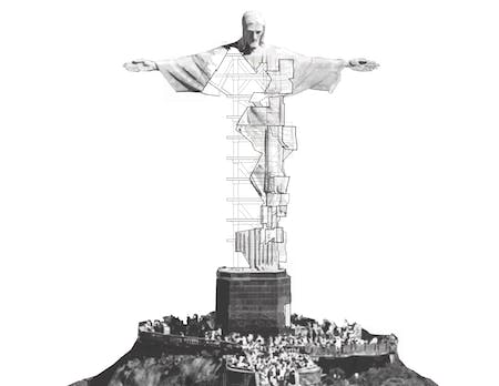 The reconfigured monumentality of Rio de Janeiro's 'Christ, The Redeemer' statue highlights the reality of slum tourism in Daniela Martinez-Hernandez's project for the Frank Clementi Studio.
