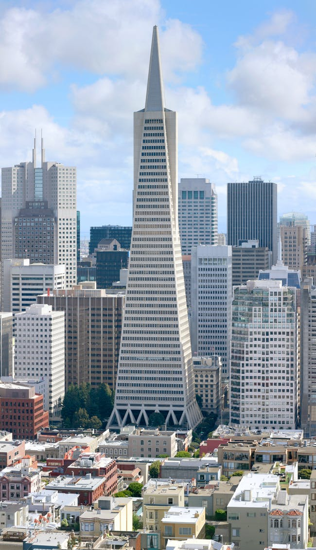 Is this urban mixture going to be 'disrupted' by apps? (Transamerica Building Photo courtesy Wikipedia).